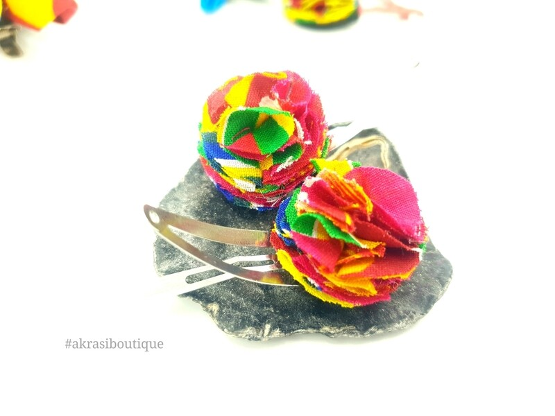 Kente print ruffle flower on silver snap clips | Ankara hair clip | hair accessories