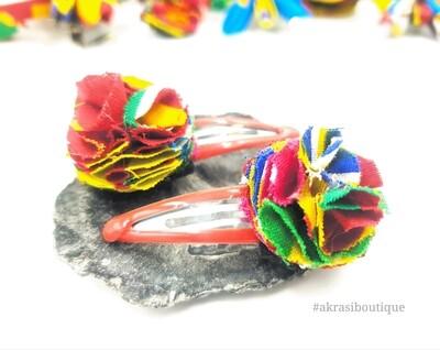 Kente print ruffle flower on red snap clips | Ankara hair clip | hair accessories