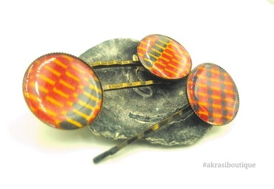 Kente hair pin set in bronze | African wax Bobby pin | Ankara hair slide