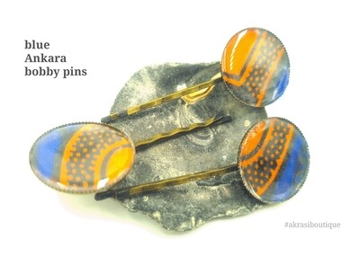 Ankara hair pin set in bronze | African wax Bobby pin | Ankara hair slide
