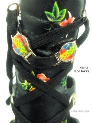 African wax kente print shoe tag | kente lace locks | clothing accessories