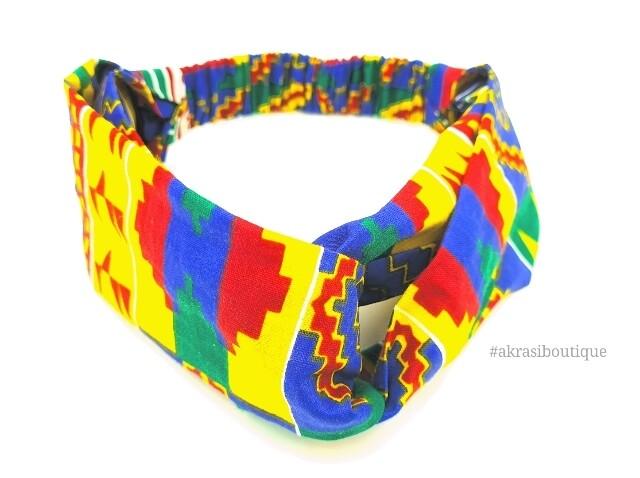 Kente print half turban headband | African wax print headwrap | African twisted headband