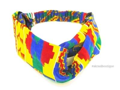 Kente print half turban headband   African wax print headwrap   African twisted headband