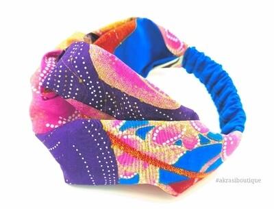Blue Ankara floral print half turban headband | African wax print headwrap | African twisted headband