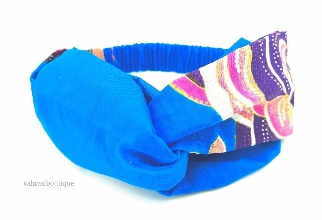 Blue Ankara floral print half turban headband   African wax print headwrap   African twisted headband