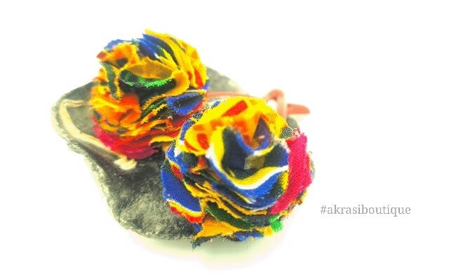 Kente print ruffle flower on red snap clips | Ankara hair clip | hair accessories
