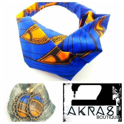 Blue and orange ankara collection accessory set includes turban headband and matching copper drop earrings