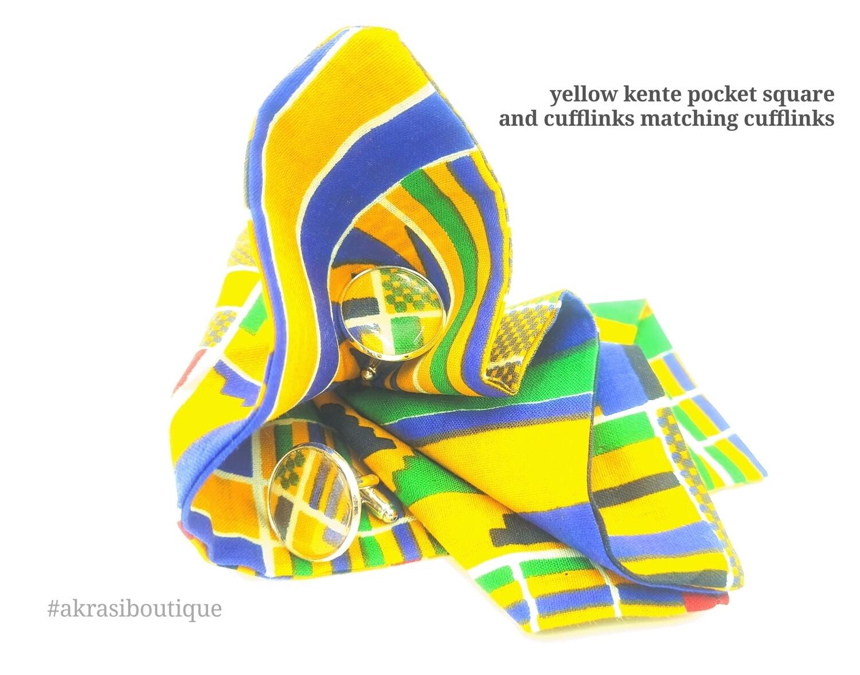 Yellow Kente African wax print pocket square with cufflinks   men's accessories   Ankara pocket square   African cufflinks