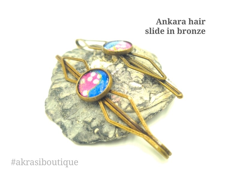 African wax ankara detail bronze hair grip | hair slide | hair accessories