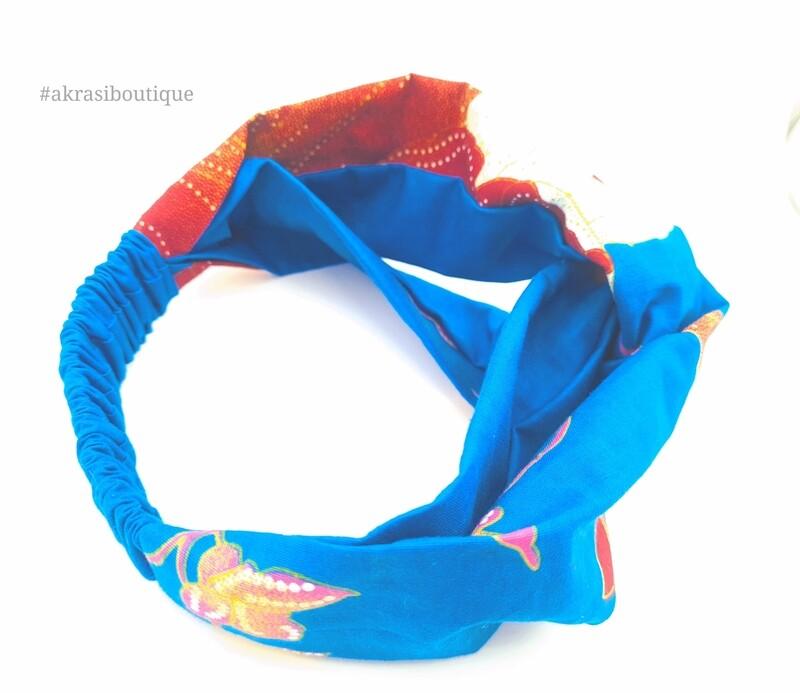 Blue Ankara floral print half turban headband   African twisted headband