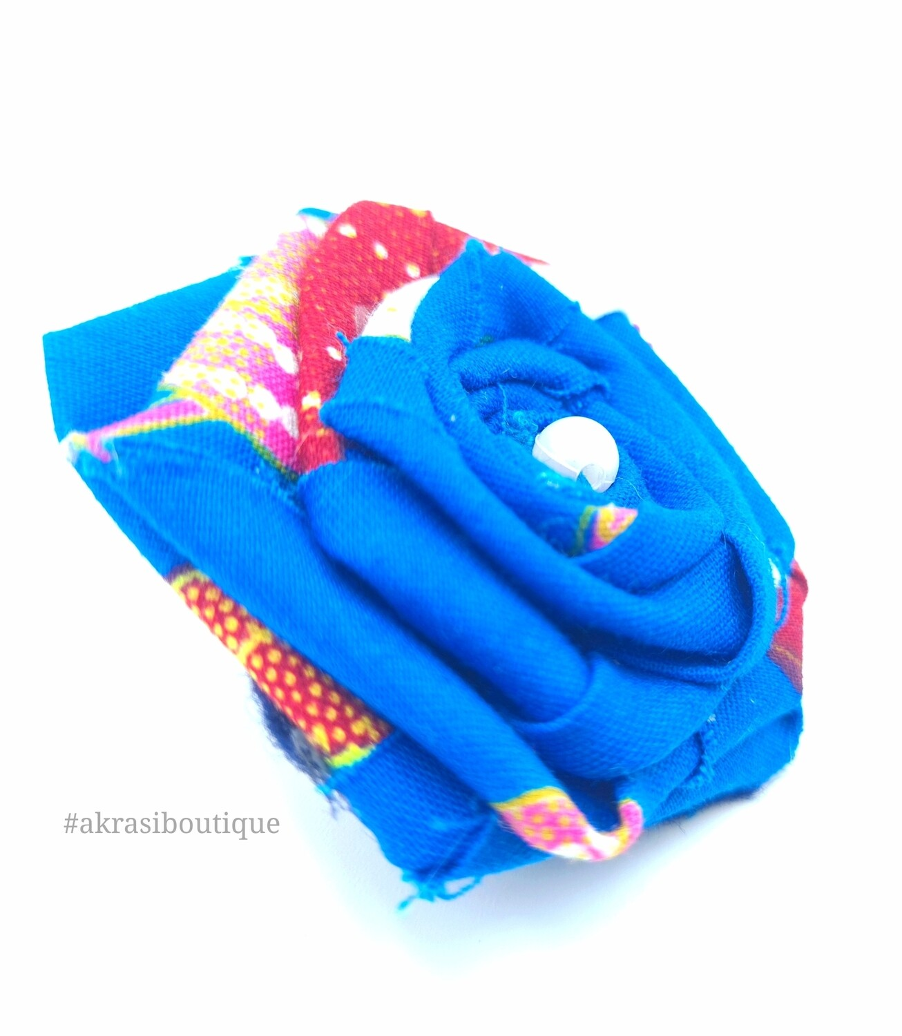 Blue and red rose flower with pearl centre | flower pin | flower hair clip | flower brooch | clothing accessories