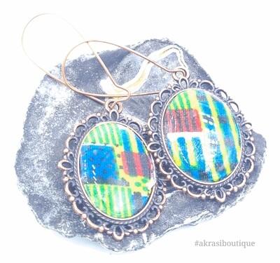 Kente collection copper drop earrings