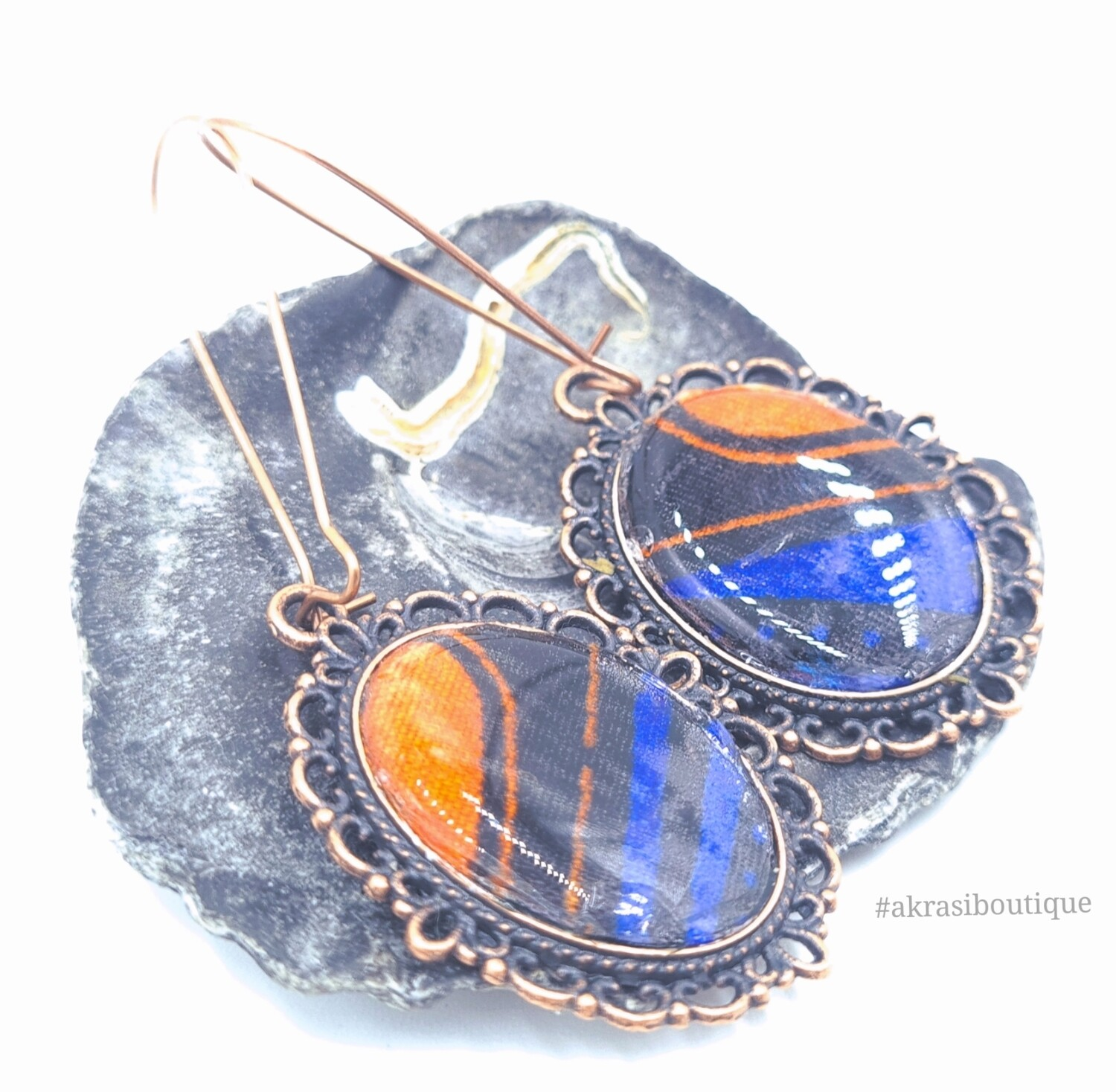 Blue and orange collection copper drop earrings