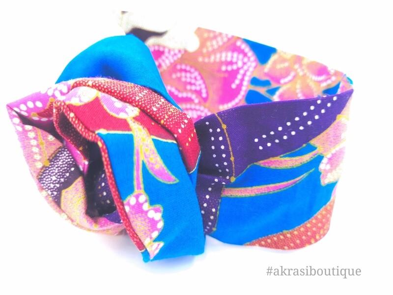 Blue ankara floral print wire twist hair tie   hair wrap   African print headwrap   Ankara print wire head tie