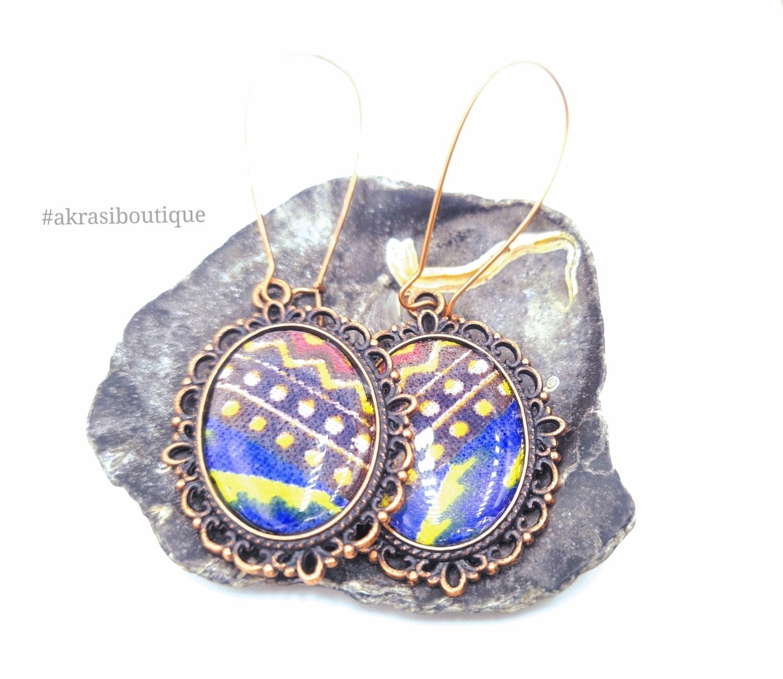 Oval dashiki print copper drop earrings sealed in resin