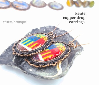 Kente collection copper drop earrings