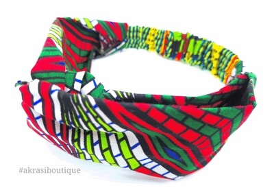 Psychedelic funk Turban headband in green, blue and red | African print headwrap | headtie |  headband | hair tie