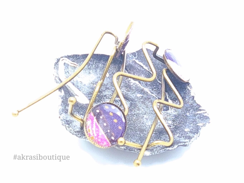 Floral ankara detail wavy bronze hair grip | hair slide | hair accessories