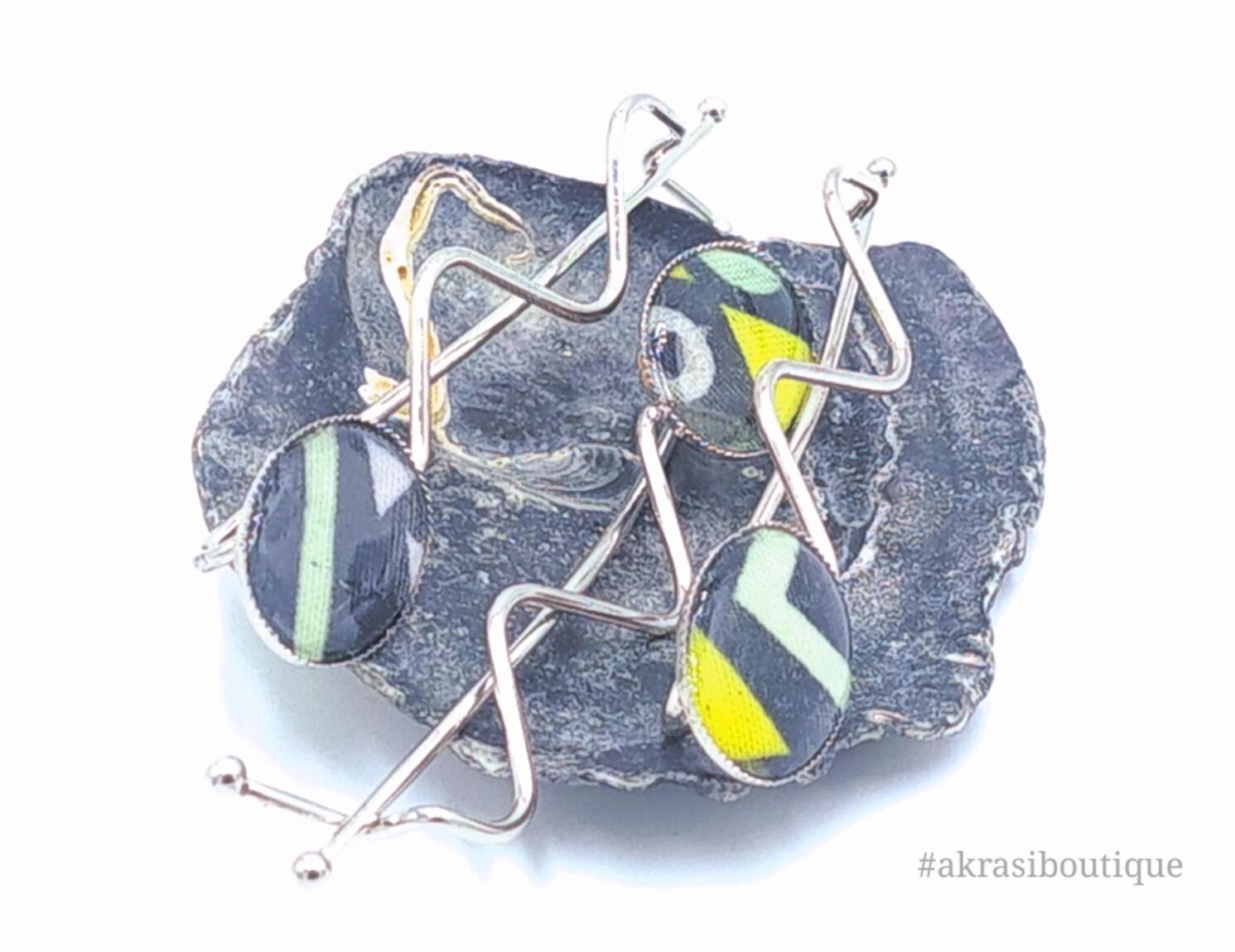 Floral ankara detail wavy silver hair grip | hair slide | hair accessories