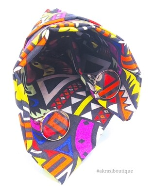 Kente African wax print pocket square with cufflinks   men's accessories   Ankara pocket square   African cufflinks