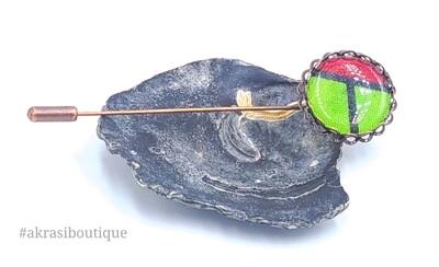 African detail lapel pin | ankara scarf pin | hat pin