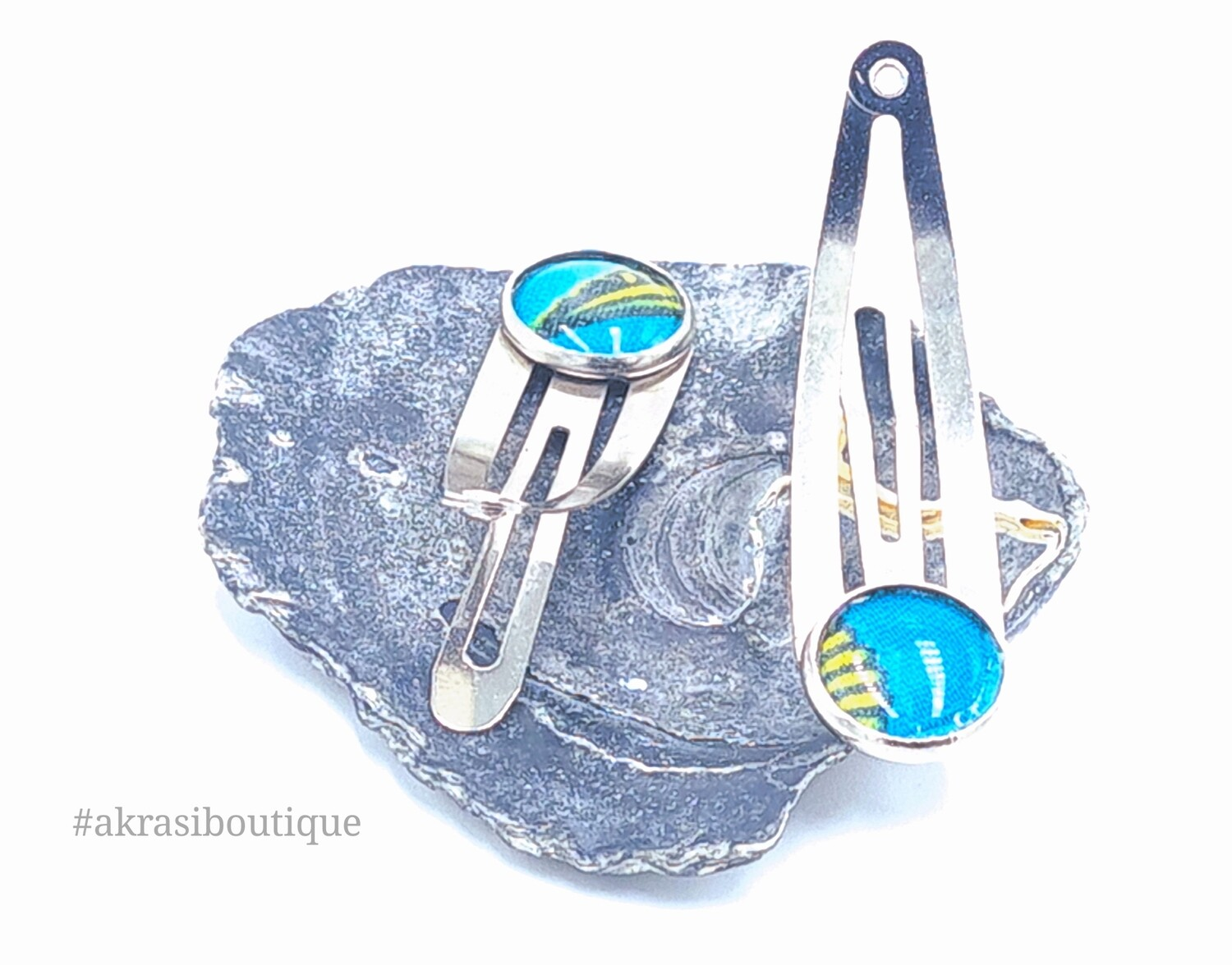 African wax print detail snap clip in silver | blue and yellow hair clip | hair accessories