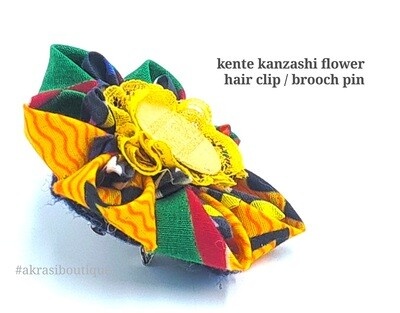 Dashiki print flower with lace & vintage button centre | flower pin | flower hair clip | flower brooch | clothing accessories