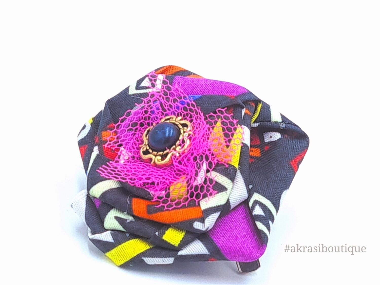 Funky kente rose with gemstone flower pin | flower hair clip | flower brooch | clothing accessories