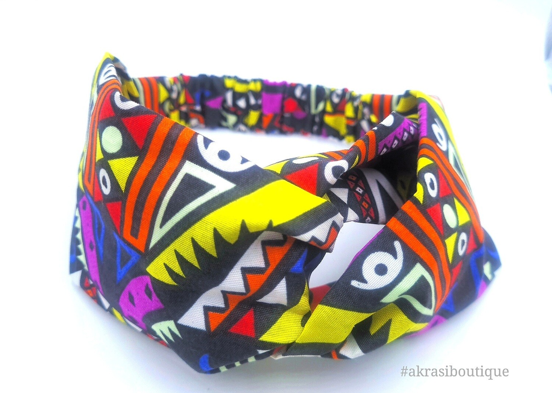 Black Kente print half turban headband | African wax print headwrap | African twisted headband