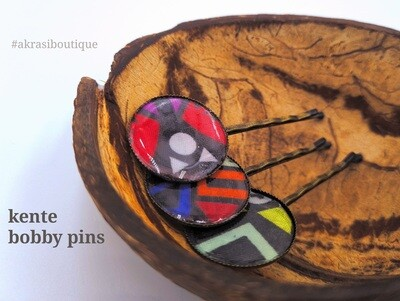 Kente hair pin set in bronze | African wax Bobby pin | Ankara hair slide