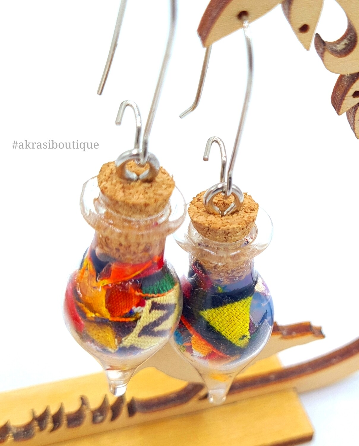 Ankara alchemy mashup collection drop earrings sealed in glass
