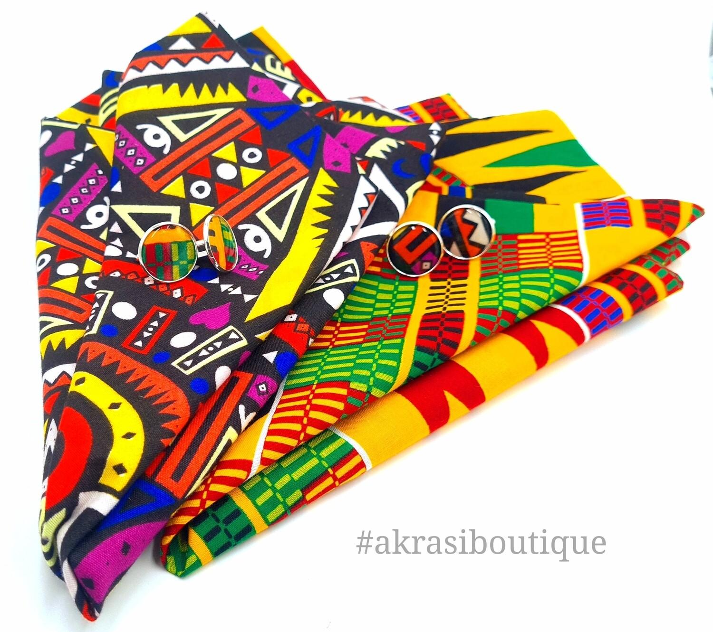 Custom handmade Kente pocket square and cufflink sets for Amarast