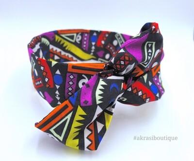 Black Kente wax print wire twist hair tie | hair wrap | headband | African print headtie