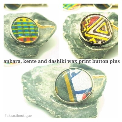 African wax print button pins | Ankara button badge | Kente pin