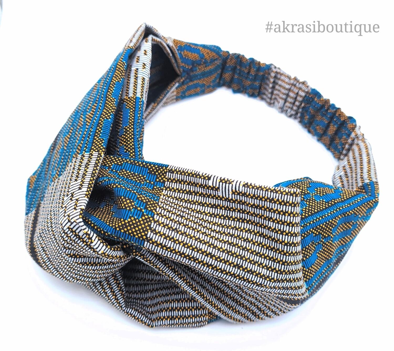 Custom handmade half turban headbands in kente and ankara