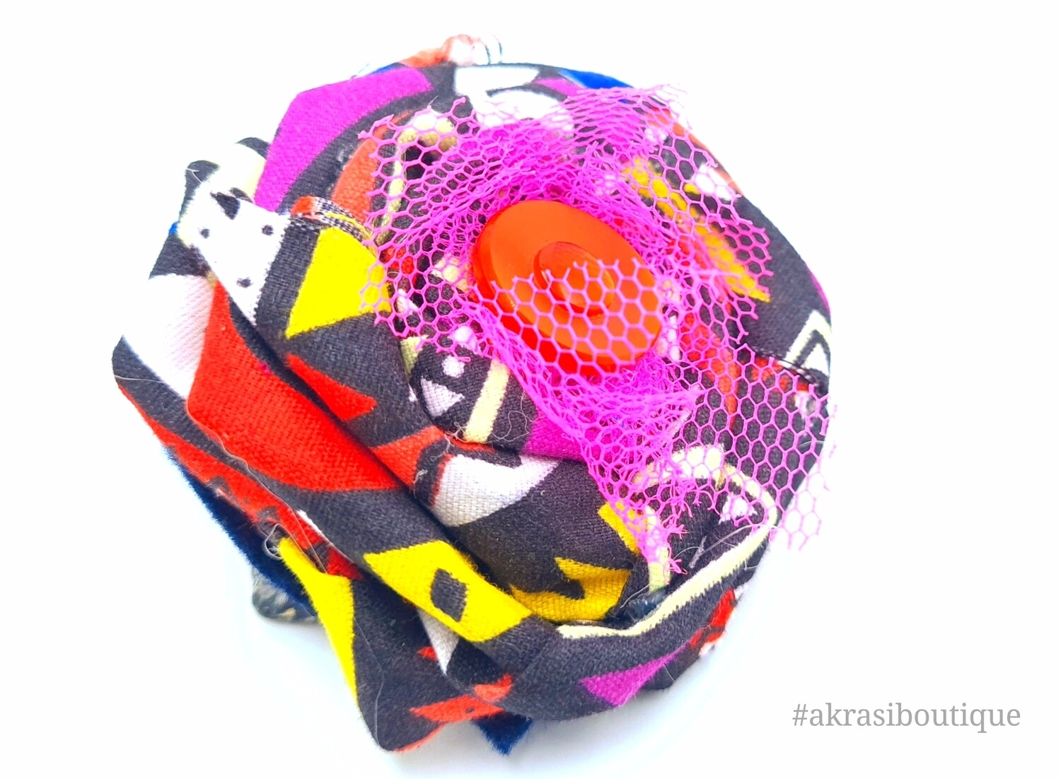 Funky kente rose with vintage button centre flower pin | flower hair clip | flower brooch | clothing accessories