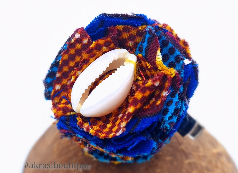 African print carnation ruffle flower   ankara flower with cowrie shell centre  flower pin   flower hair clip   flower brooch   clothing accessories
