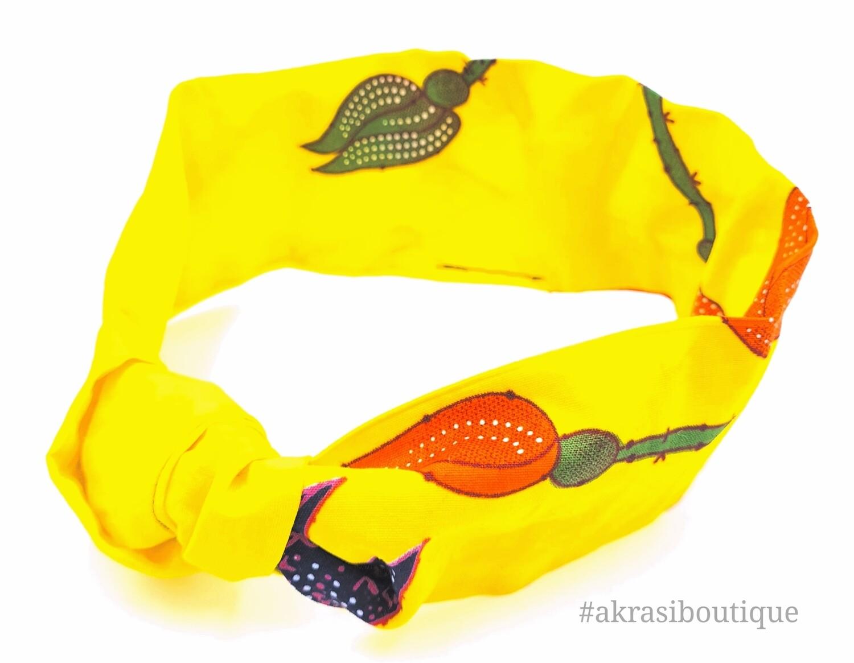 Yellow floral print wire twist hair tie | hair wrap | headband | African print headwrap | Ankara print wire headtie | wire hair tie