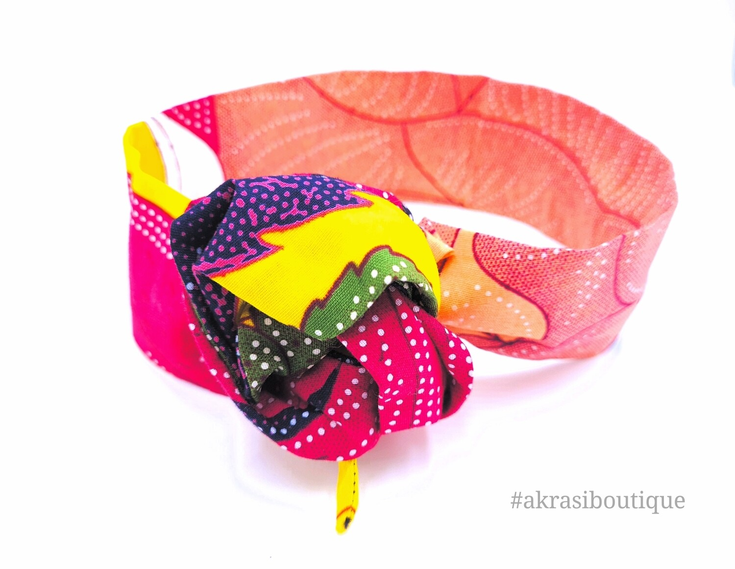 Yellow and pink floral print wire twist hair tie | hair wrap | headband | African print headwrap | Ankara print wire headtie | wire hair tie