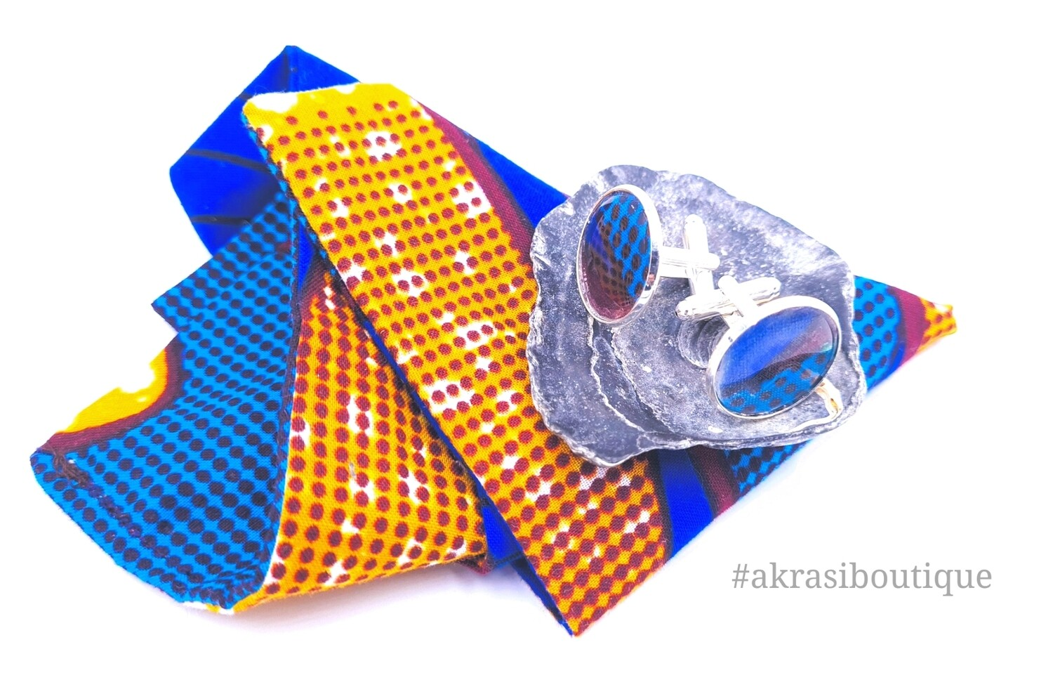 Blue African wax print pocket square with cufflinks   men's accessories