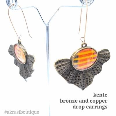 Kente collection bronze & copper drop earrings