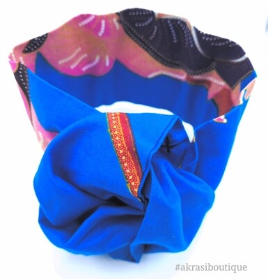 Blue and pink floral print wire twist hair tie | hair wrap | headband | African print headwrap | Ankara print wire headtie | wire hair tie