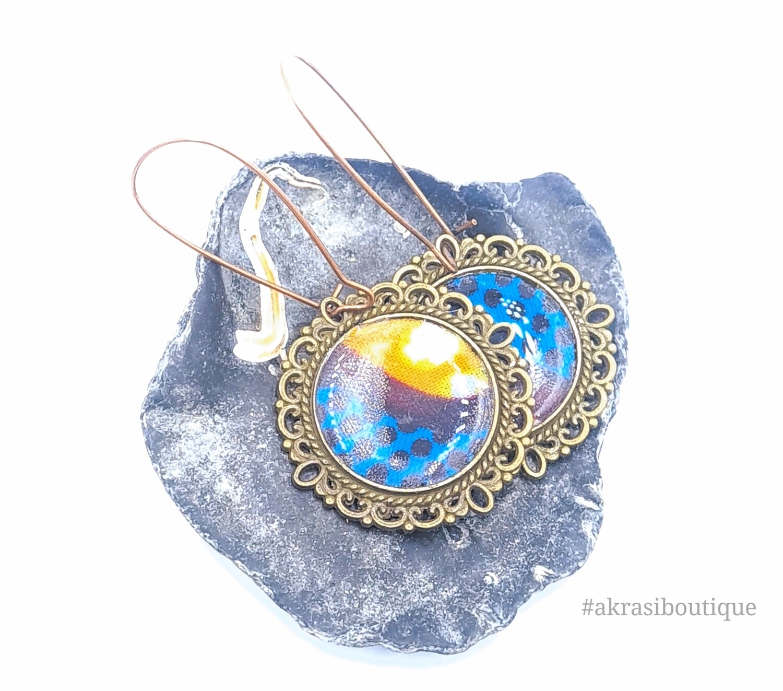 Ankara collection copper drop earrings