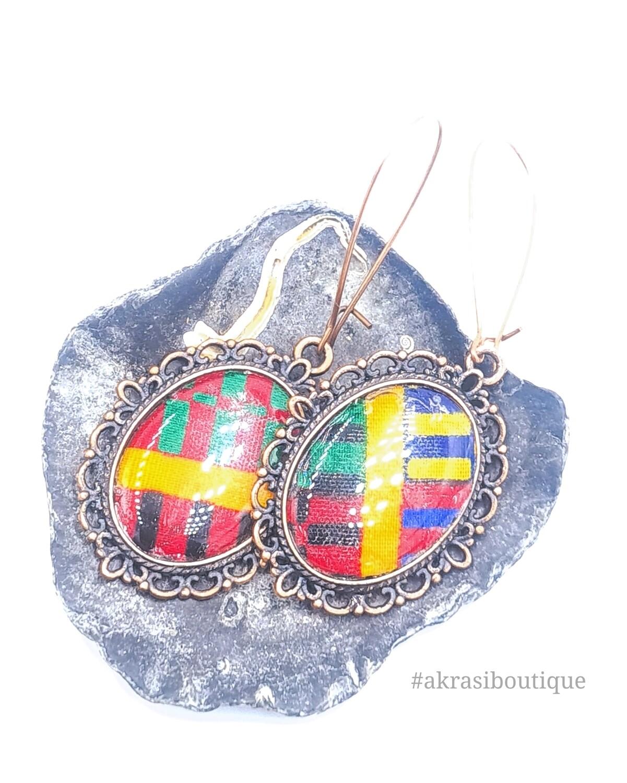 Kente collection oval copper drop earrings