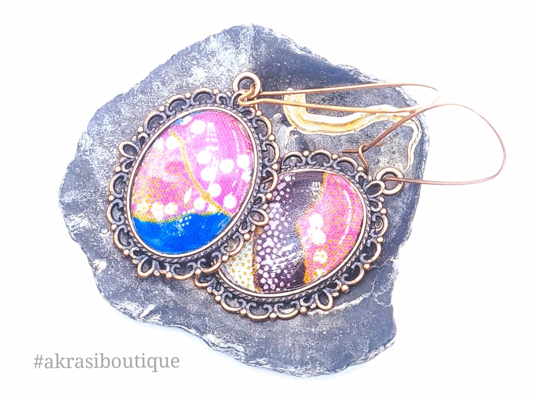 Oval ankara copper drop earrings sealed in resin