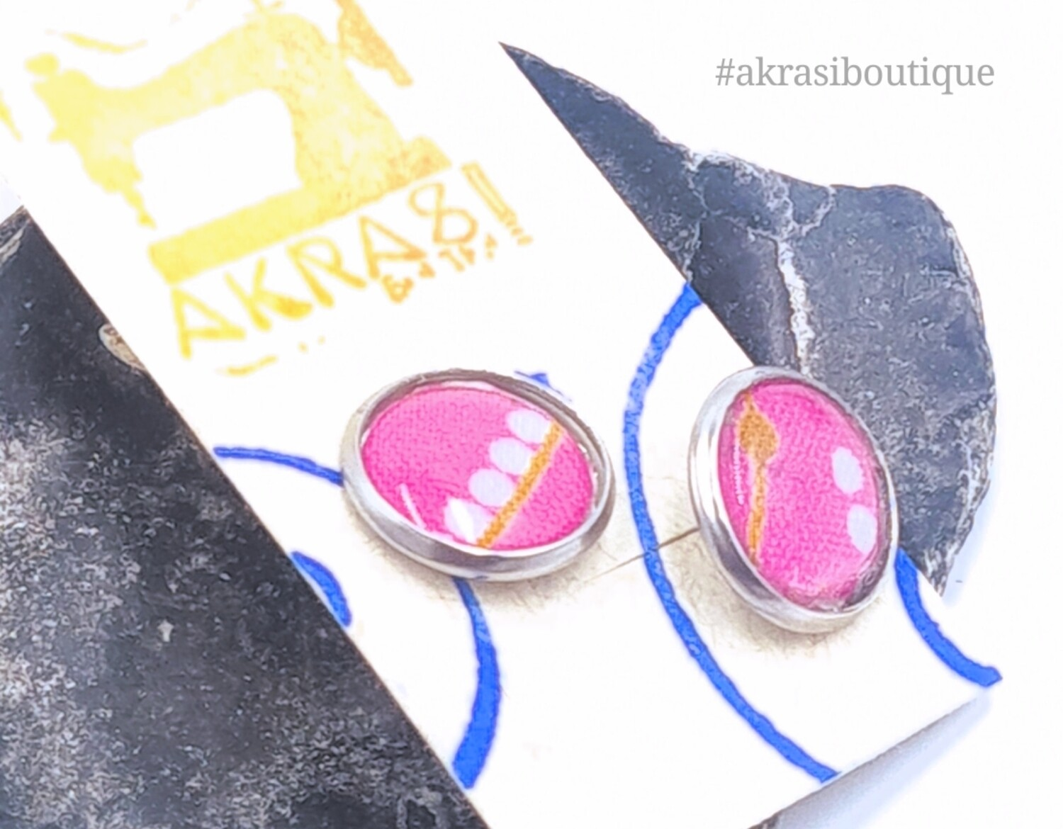 Round hot pink and white ankara silver stud earrings sealed in resin