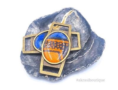 African wax print orange and blue shoe tag | ankara lace locks | clothing accessories