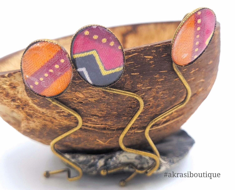 African wax dashiki detail wavy silver hair grip   hair slide   hair accessories
