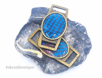African wax print blue, purple and yellow shoe tag | ankara lace locks | clothing accessories