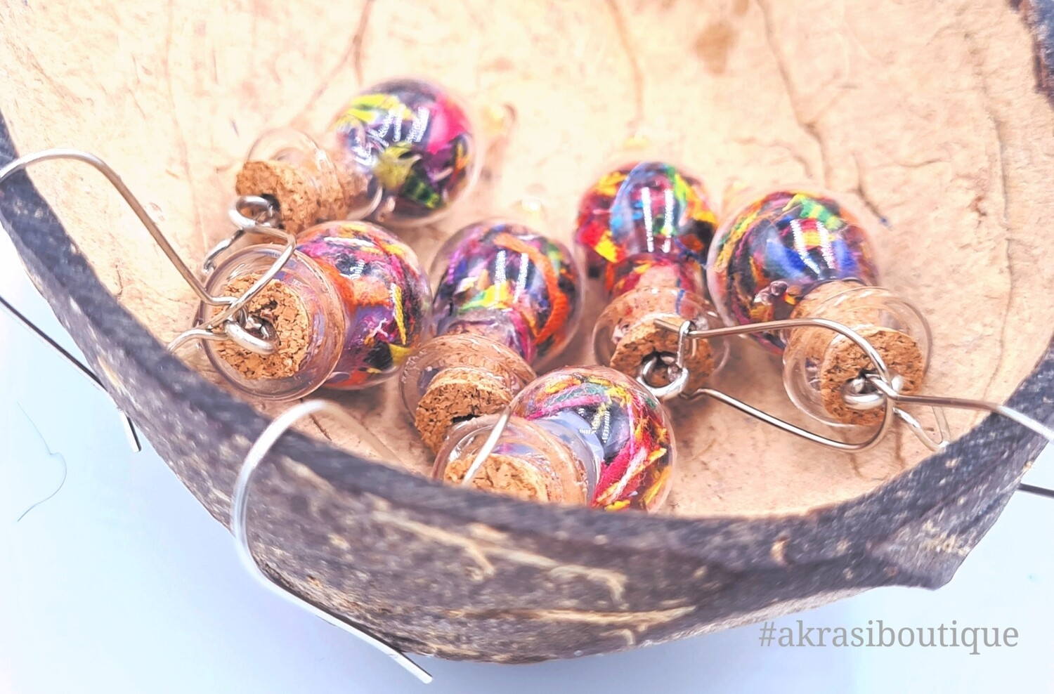 Ankara alchemy beaded mashup collection drop earrings sealed in glass